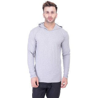 Bi Fashion Men's Grey Hooded Full Sleeve Cotton Plain T-Shirt