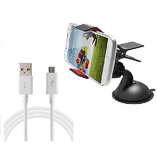 Universal Single Clip Car Mobile Holder With USB Charging Cable