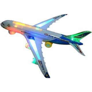 AirBus Musical Lights Self Rotating Aeroplane Toy (White)