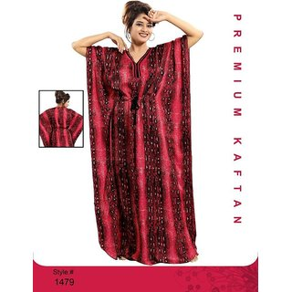 acbaa944a3 Red Nighty 1pc Daily Lounge Wear Night Dress 1 Gown Multi Printed Maxi  Nightie Bedroom Slip