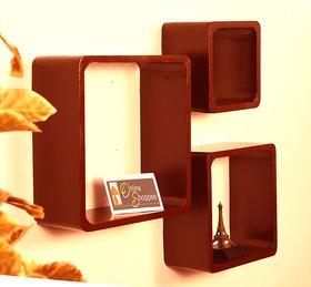 Onlineshoppee Fancy 3 Pcs Brown Cube Wooden Wall Shelf