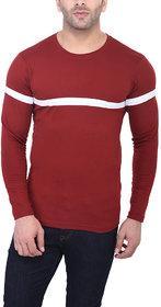 Bi Fashion Men's Maroon Round Neck T-Shirt