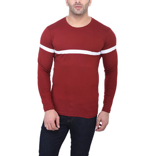 Bi Fashion Men's Maroon Round Neck T-Shirt