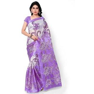 SVB Sarees Purple Cotton Block Print Casual Saree Without Blouse - 5.5 Mtr