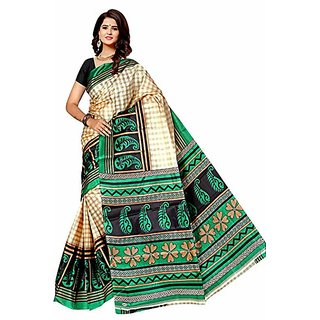 Svb Taffeta Silk Block Print Saree Without Blouse