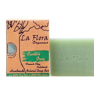La Flora Organics Earth's Own French Green Clay,Patchouli Handmade Soap Bar