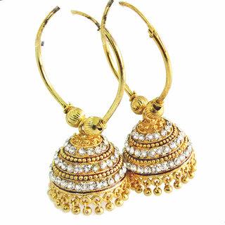 Rabbi Gold plated With Diamond Big Khusi Jhumka Earrings