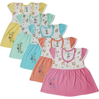19a336f4e Buy Baby girls frocks set ( 0 - 6 months ) (A pack of 5 ) Online ...