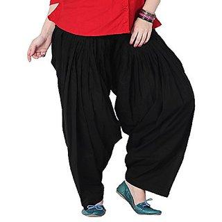 RamE Black colour Cotton  Semi punjabi Patiala Salwar free size for ladies,girls