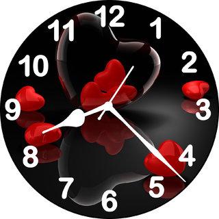 Black MDF Heart4 3D Round Wall Clock by Sanchi Enterprises