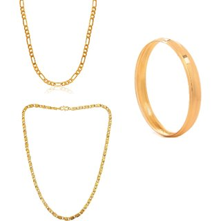 Goldnera Wedding Collection Gold-Plated  2 Chain And Kada Combination Set For Men/Boys