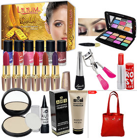 Winter Season Budget Beauty Makeup Combo With Gold Facial Kit Free Handbag  For Women-  (Set of 21)