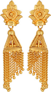 GoldNera Alloy Gold Plated Wedding Jhumkis With Tassels