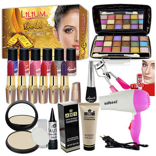 Budget Beauty Combo Makeup Sets With Dryer and Gold Facial Kit