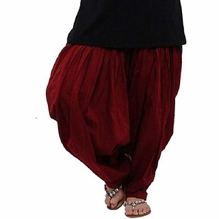RamE Mahroon  colour Cotton Semi punjabi Patiala Salwar free size for ladies,girls