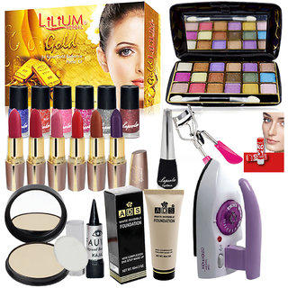 Travel Combo Makeup Sets With Iron and Gold Facial Kit