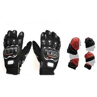 love4ride Combo Pro-biker 2 Gloves Black Buff Headwear