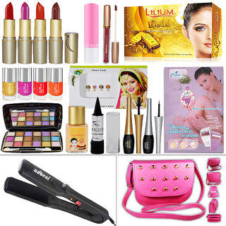 Wedding Beauty Combo Makeup Sets With Hair Straightener
