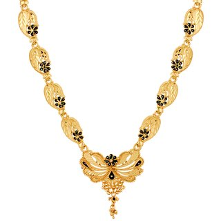 Gold Plated Party Wear Real Gold Looking Meenakari Flower Shape Adjustable Necklace Gold-Plated Plated Brass Necklace