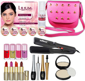 Trend Beauty Combo Makeup Sets With Hair Straightener  300g Skin Whitening Facial Kit