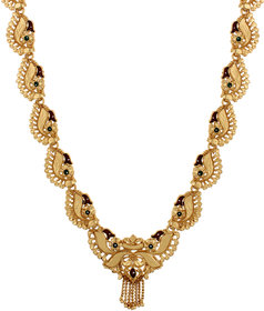 Artificial Gold Necklace Short Length Gold Plated Enamel Ethnic Design Traditional Style Party Wear Wedding Wear Gift For Girls Women Ladies Necklace (No Earrings) Gold-Plated Plated Brass Necklace