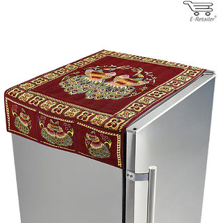 E-Retailers traditional red peacock fridge top cover