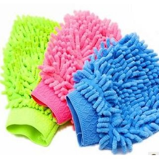 Car Cleaning Multicolor Glove Cloth Micro Fibre Hand Wash (1pcs)