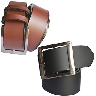 29K Black & Brown Pure Leather Pin-Hole Buckle Belt For  Men (Pack of 2)
