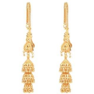 GoldNera Designer Gold Plated Kaan chain Jhumki Earrings