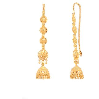 Pretty wedding style kaan chain jhumki earrings by GoldNera