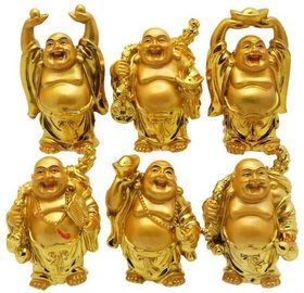 Arts & Kraft Metal Feng Shui/Vastu Laughing Buddha No of Pieces 6