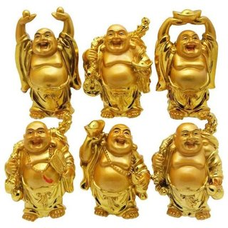 Arts & Kraft Metal Feng Shui/Vastu Laughing Buddha No of Pieces 6