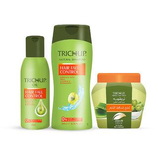 Trichup Anti - Hair Loss Treatment Kit (Hair Fall Control Oil (200ml), Hair Fall Control Shampoo (200ml), Hair Fall Cont
