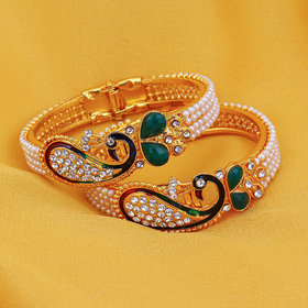 Sukkhi Ritzy Alloy Gold Plated Traditional/Ethnic Austrian Diamond 2 kada For Women