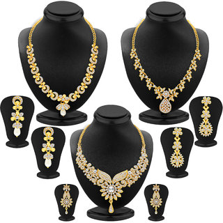 Meia Gold Plated BridalWedding 3 Necklace & 3 Pair of Earring For Women