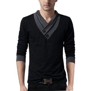 b98df6705385 AQSHA Men's Grey V-Neck Men T-Shirt