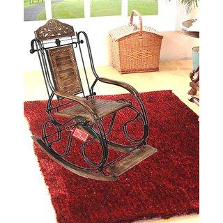Onlineshoppee Wooden  Iron Rocking Chair