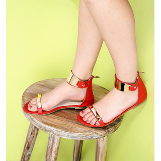 Estatos Open Toe Single Strap Zip Closure Red Colured Flat Sandal