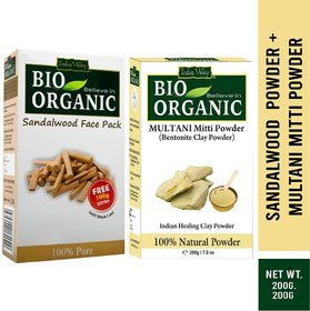Indus Valley BIO Organic Multani Mitti  Sandalwood Face Pack Powder Combo Set