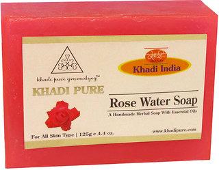 Khadi Pure Herbal Rose Water Soap - 125g