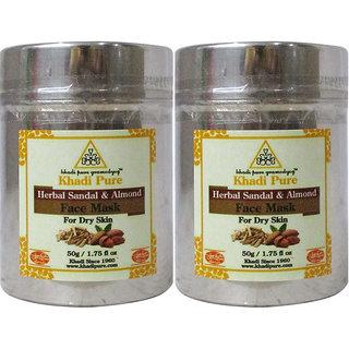 Khadi Pure Herbal Sandal  Almond Face Mask (For Dry Skin) - 50g (Set of 2)