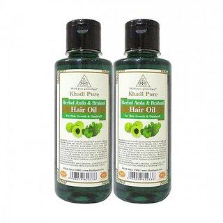Khadi Pure Herbal Amla  Brahmi Hair Oil - 210ml (Set of 2)