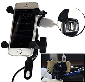 Mobile Holder with USB Charger and Stand for Bike (Universal) 1 Pc