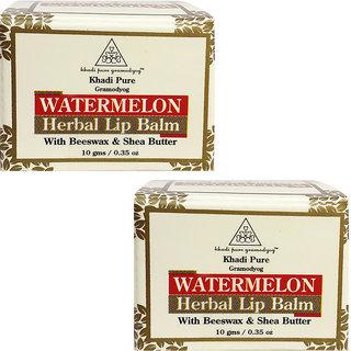 Khadi Pure Herbal Watermelon Lip Balm - 10g (Set of 2)