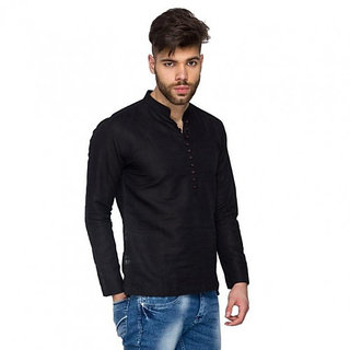Khadi Short Black Kurta for Men