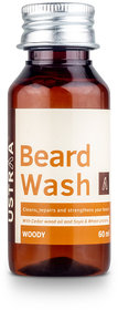 USTRAA Beard Wash Woody - for Men - 60ml - No Sulphate, No Paraben - Wheat  Soy Proteins - Made in India