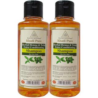 Khadi Pure Herbal Henna Tulsi Shampoo - 210ml (Set of 2)