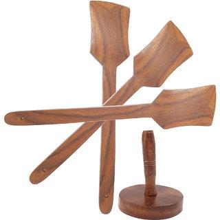 Wooden sheesham ladel set of 3 +1 masher
