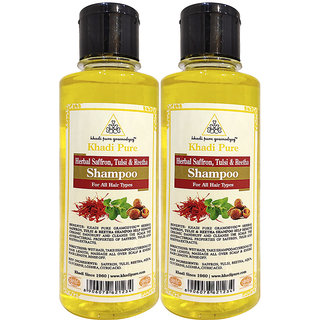 Khadi Pure Herbal Saffron, Tulsi  Reetha Shampoo - 210ml (Set of 2)