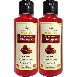 Khadi Pure Herbal Reetha Shampoo SLS-Paraben Free - 210ml (Set of 2)